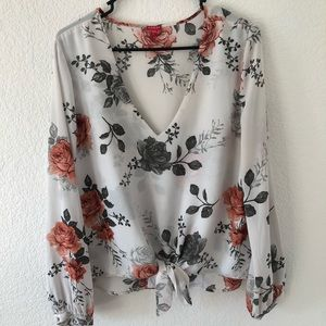 GUESS  white blouse with roses print. Size large